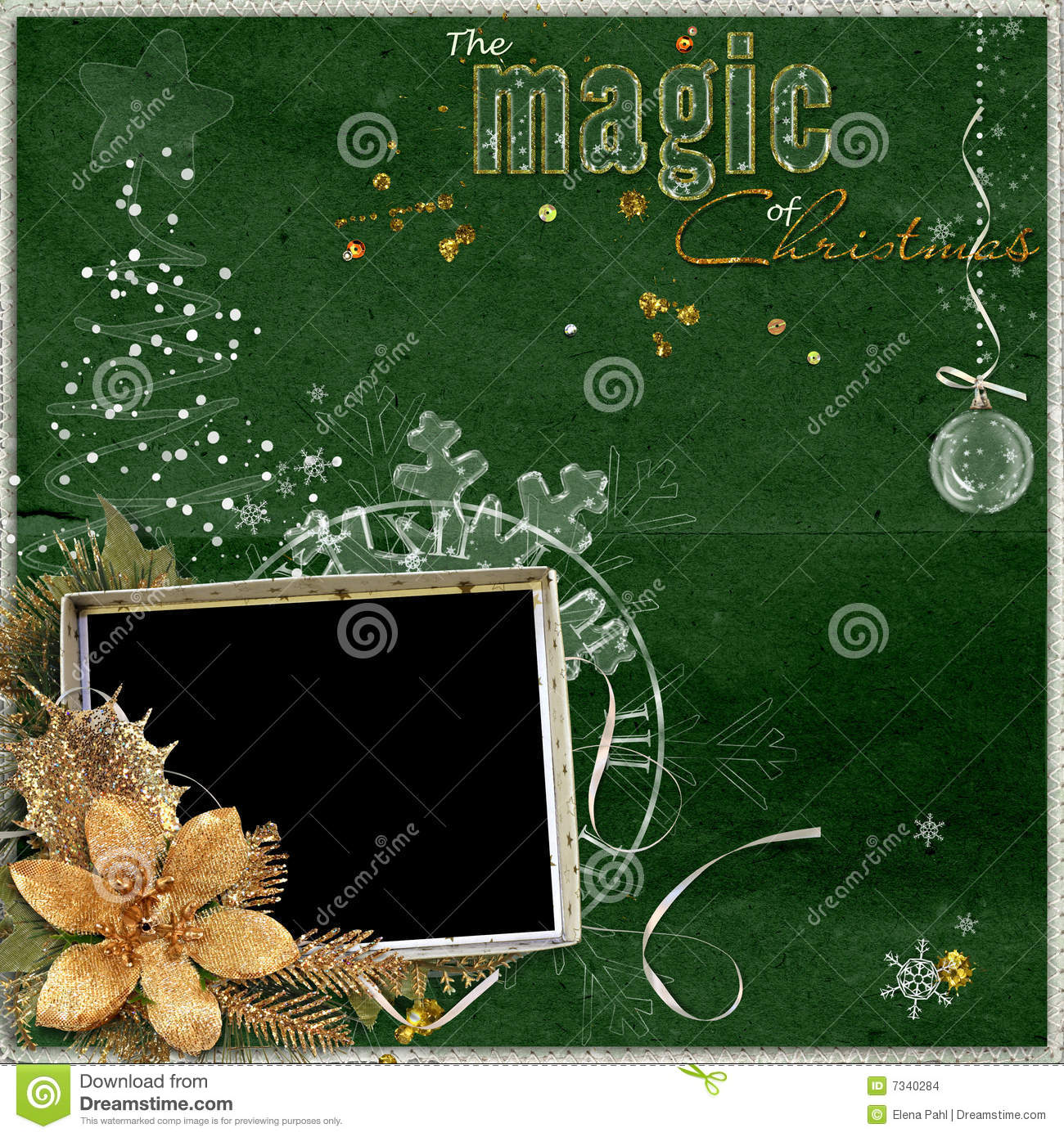 Magic Christmas frame stock illustration. Illustration of flower ...