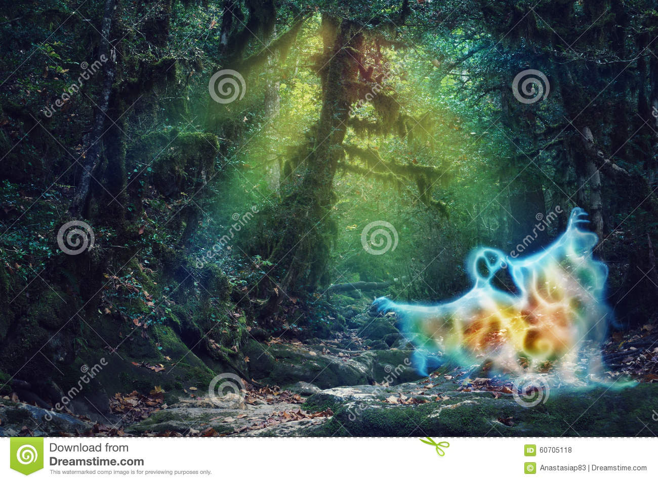 Magic color haunted forest with a scary fire ghost
