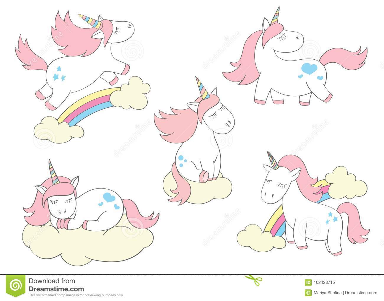 Magic cute unicorns set in cartoon style. Doodle unicorns for cards, posters, t-shirt prints