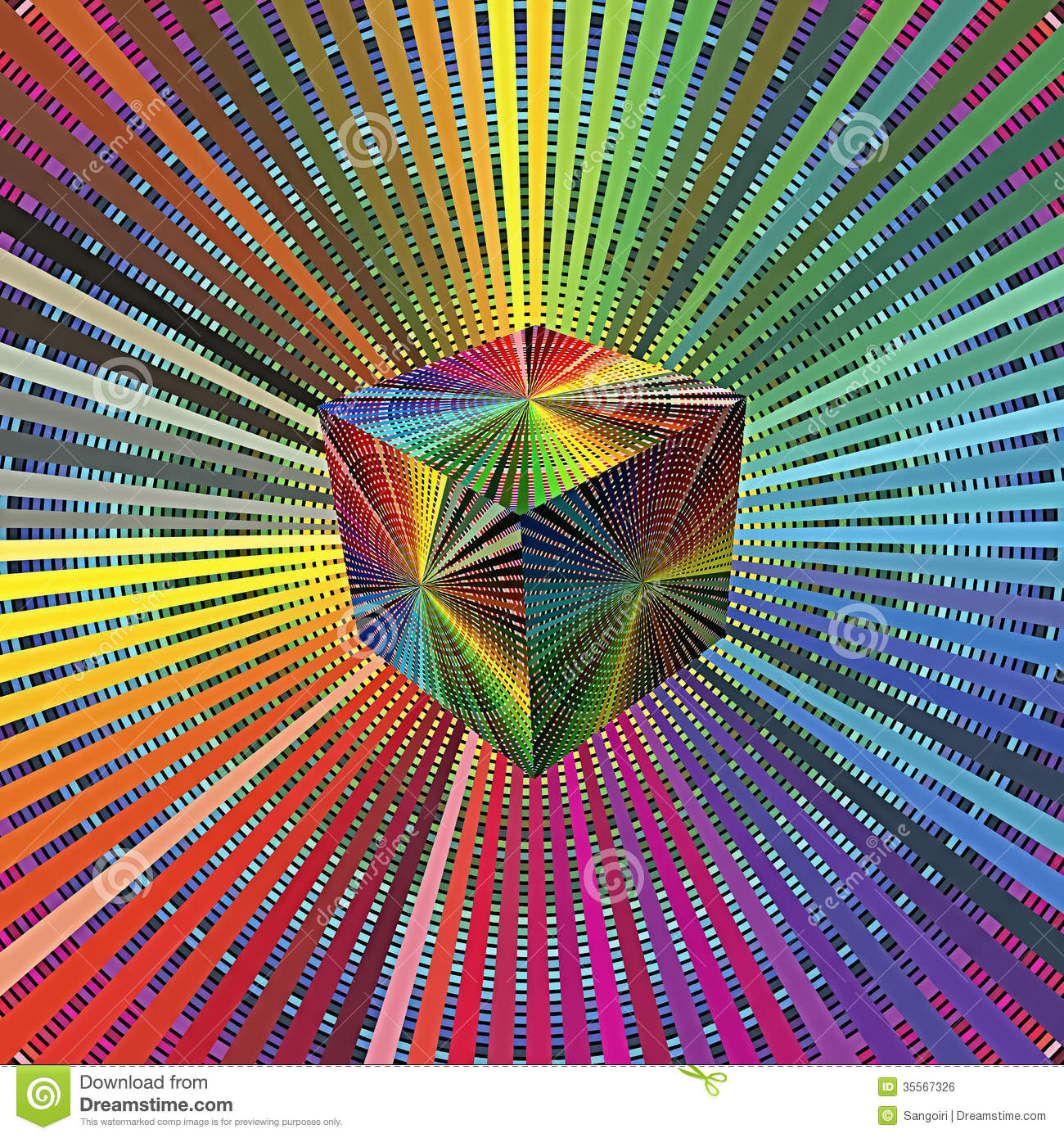Magic 3D Cube In Rainbow Colors Stock Illustration