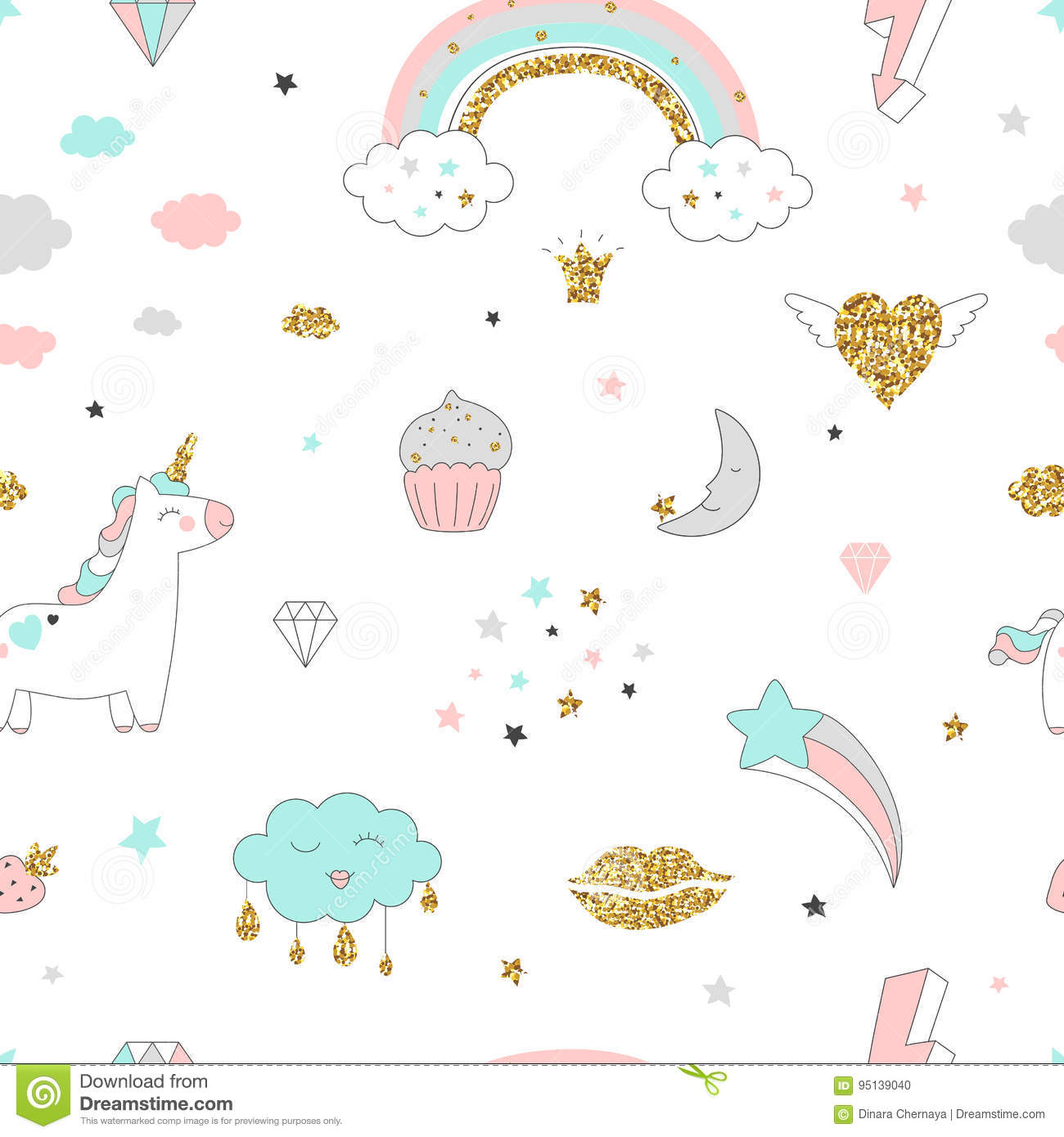 Magic design seamless pattern with unicorn, rainbow, hearts, clouds and others elements.