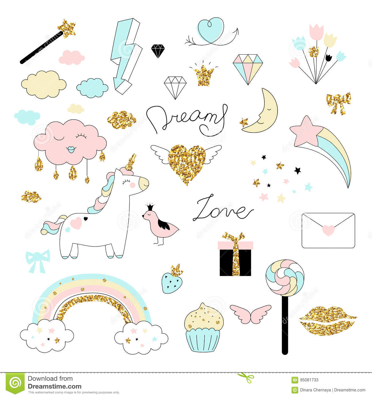 Magic design set with unicorn, rainbow, hearts, clouds and others elements.