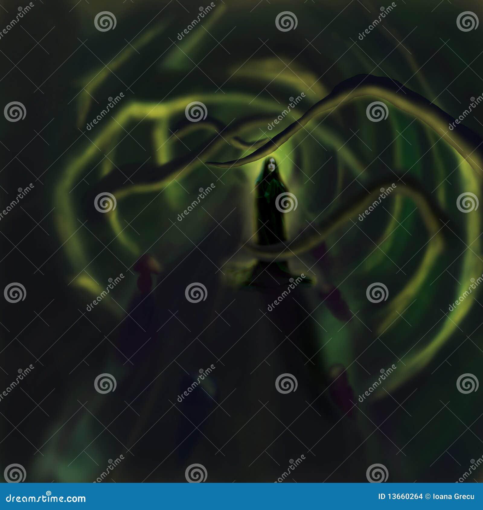 Magic forest priestess