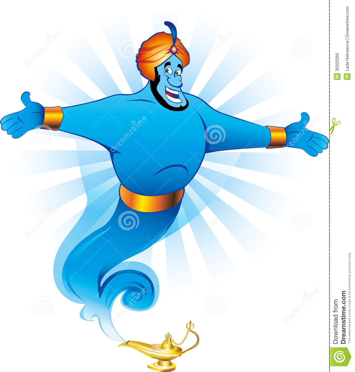 Magic Genie Granting The Wish Royalty Free Stock Image
