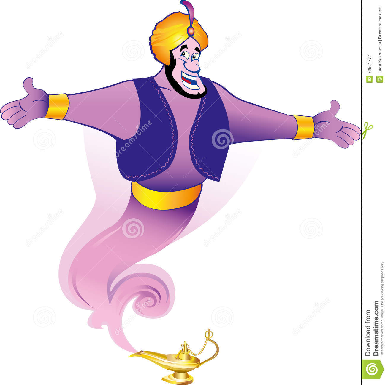 Magic Genie Granting The Wish Stock Illustration