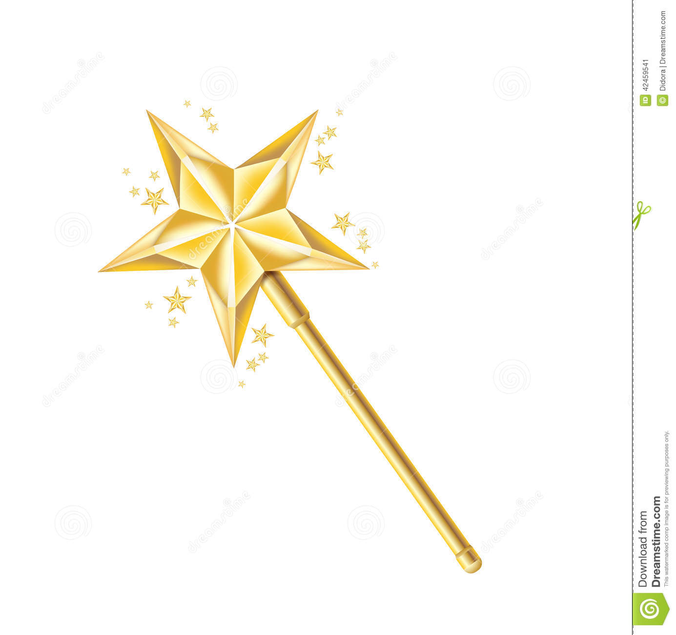 magic golden wand isolated on white stock vector. Black Bedroom Furniture Sets. Home Design Ideas