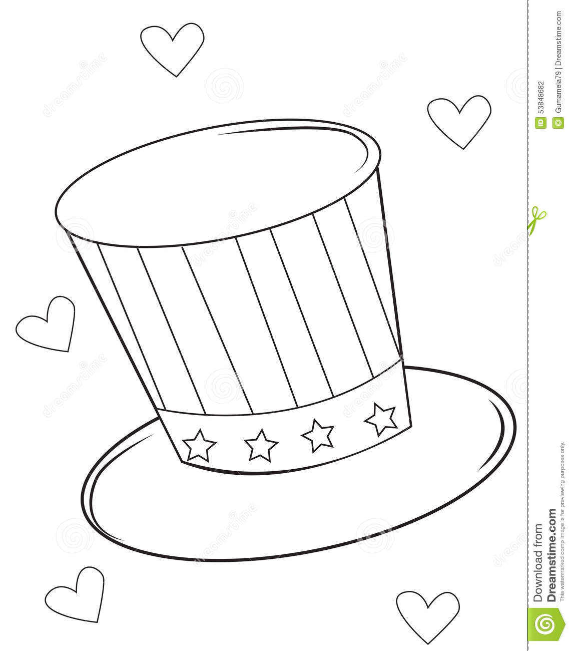 magic hat coloring page stock illustration