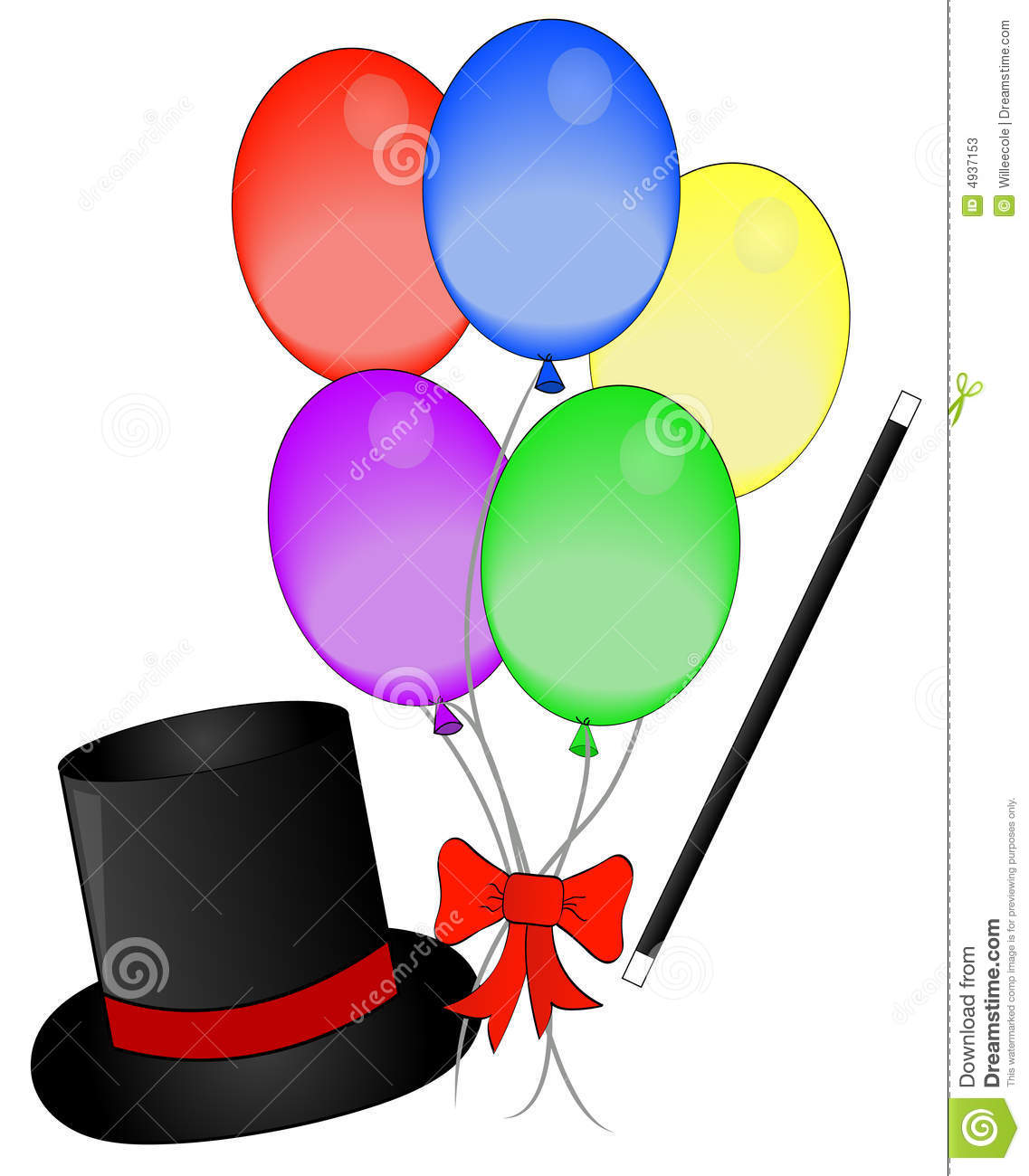 Magic hat wand and balloons stock photos image 4937153