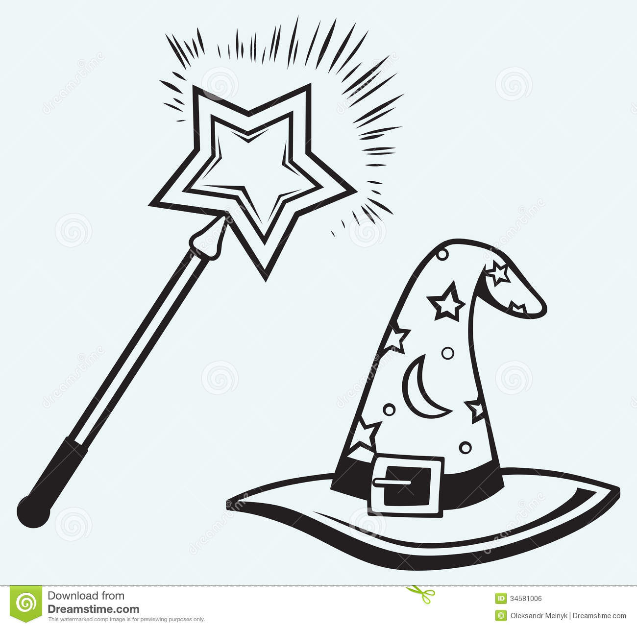 Magic hat and wand stock vector. Image of cartoon, mystery ...
