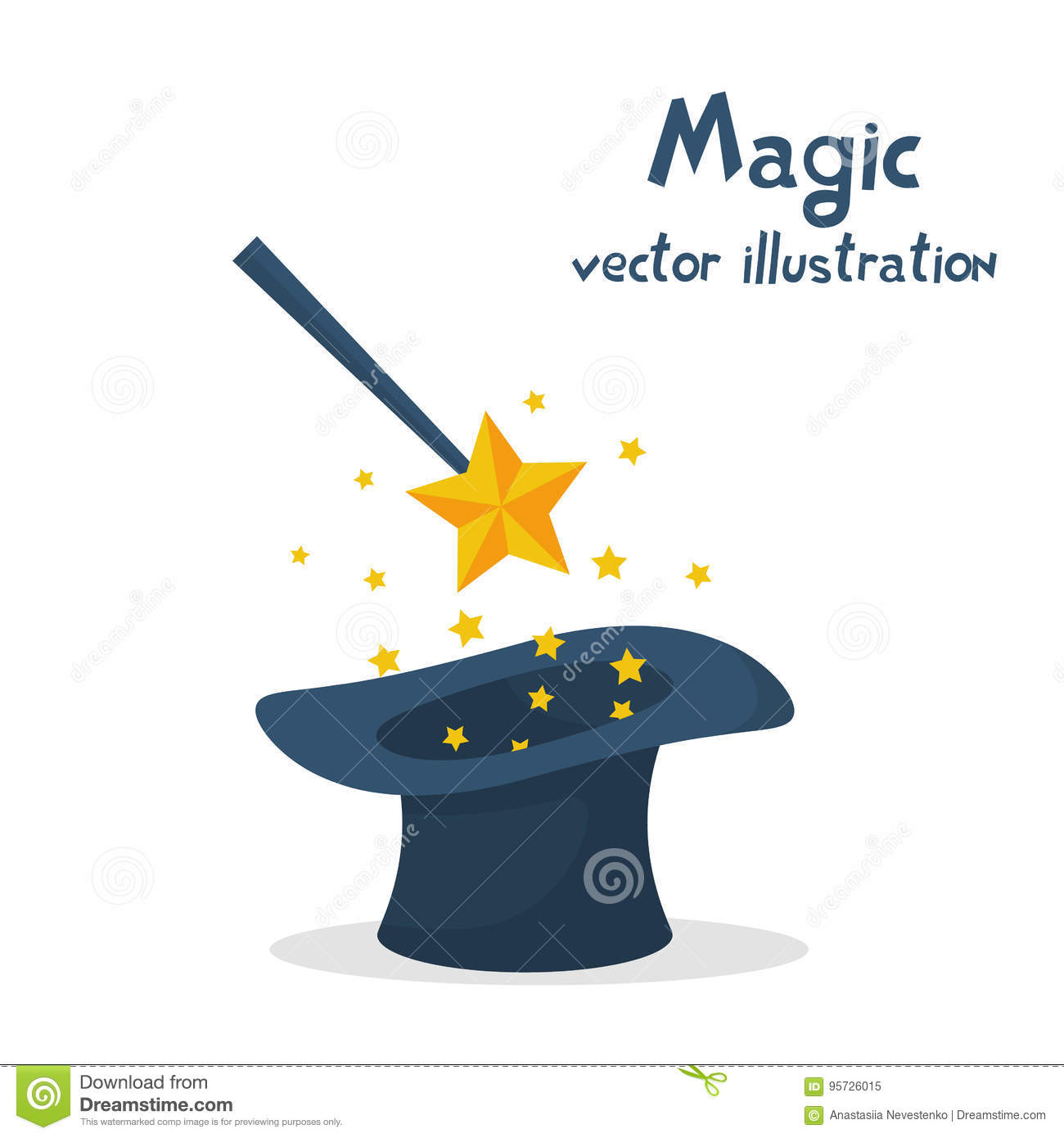 Magic Hat And Wand With Sparkles Stock Vector - Illustration of ...