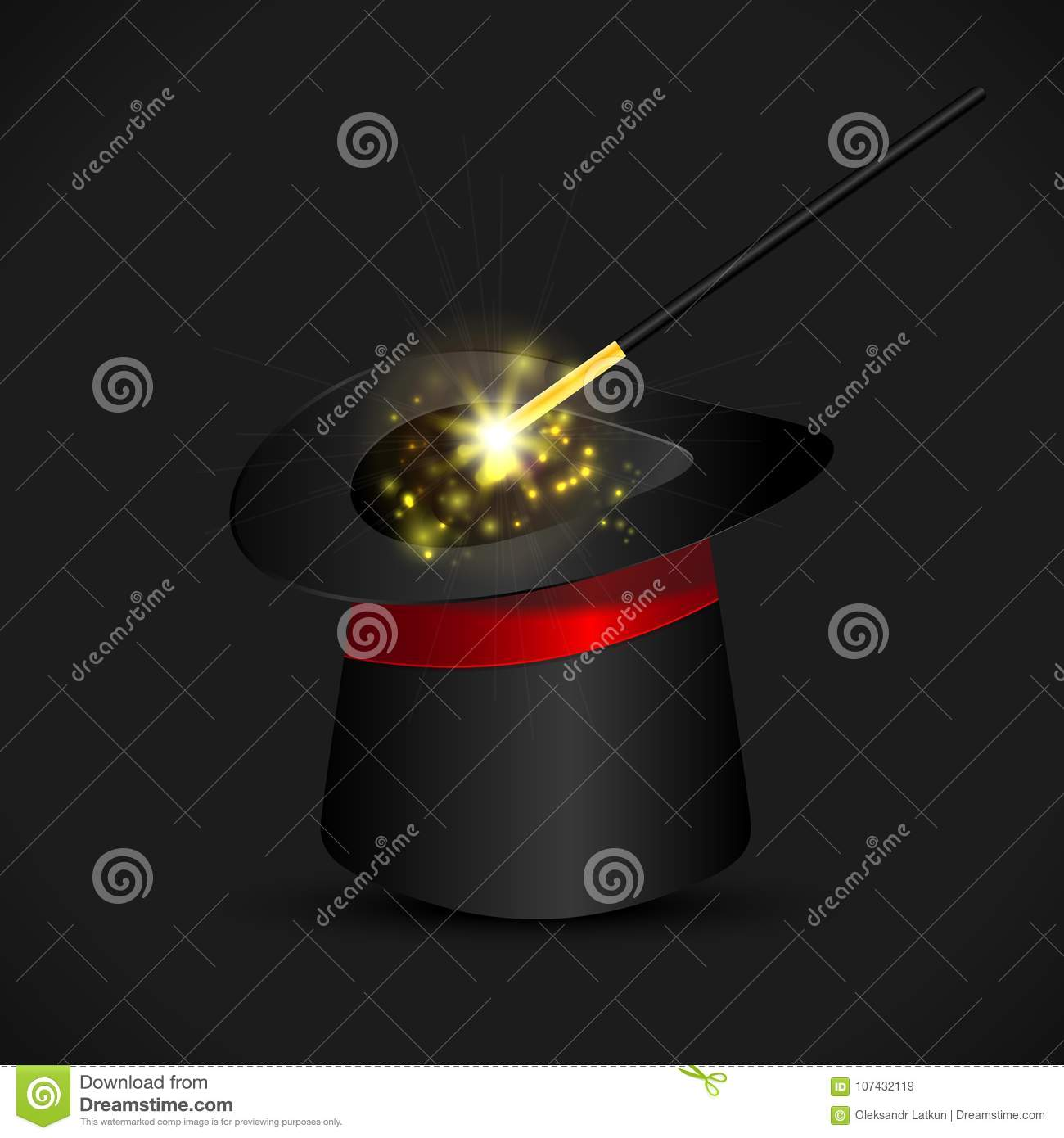 Magic hat and wand with sparkles, magical glow. Vector