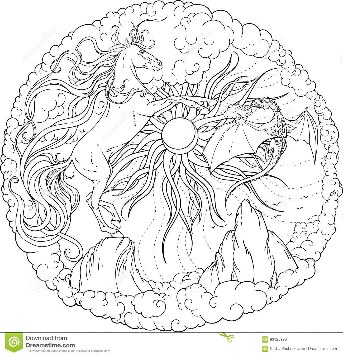 Mountain and sun tattoo cartoon vector for Coloring pages clouds