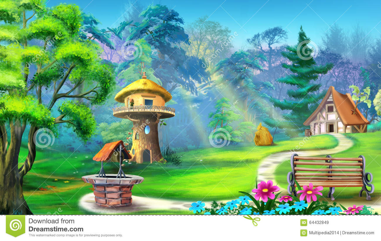 Magic house in the forest stock illustration image 64432849 for Digitally paint your house