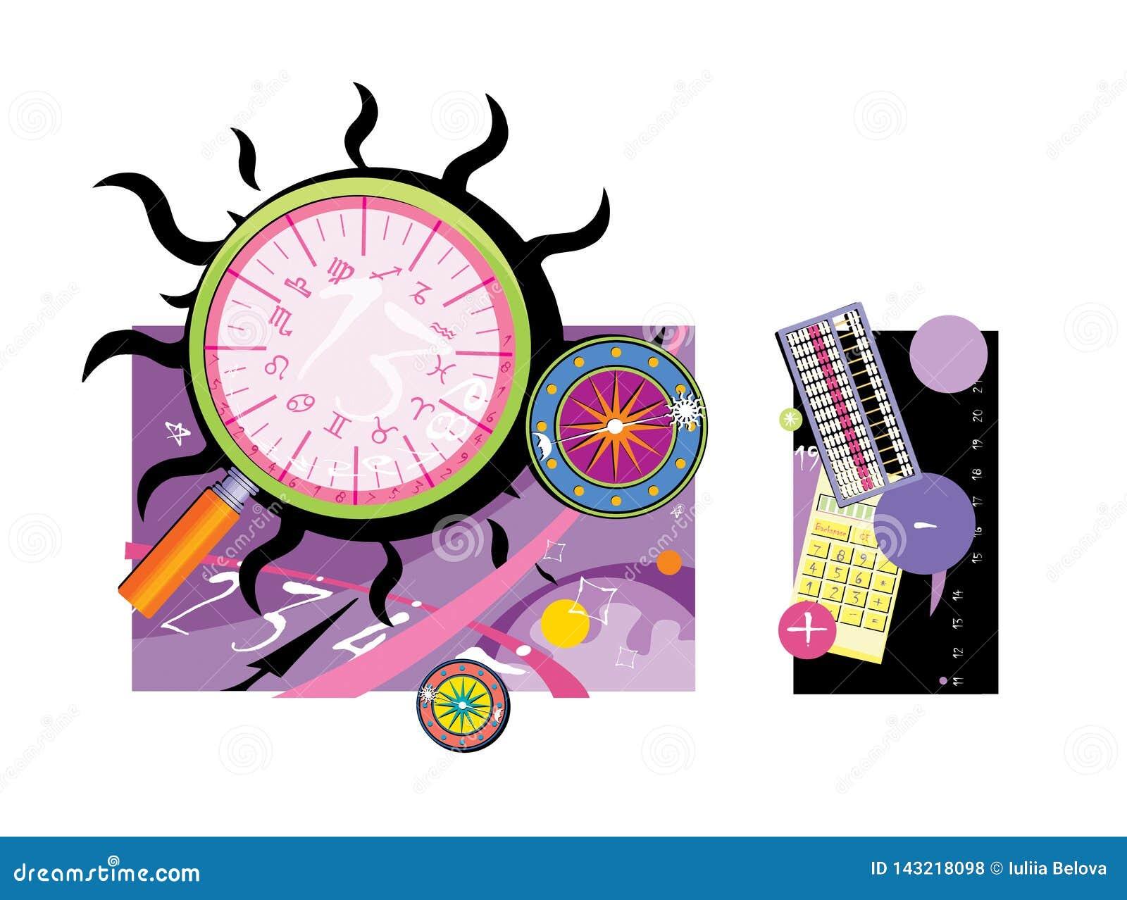 Magic Items  Zodiac Circle, Calculation Table  Numerology