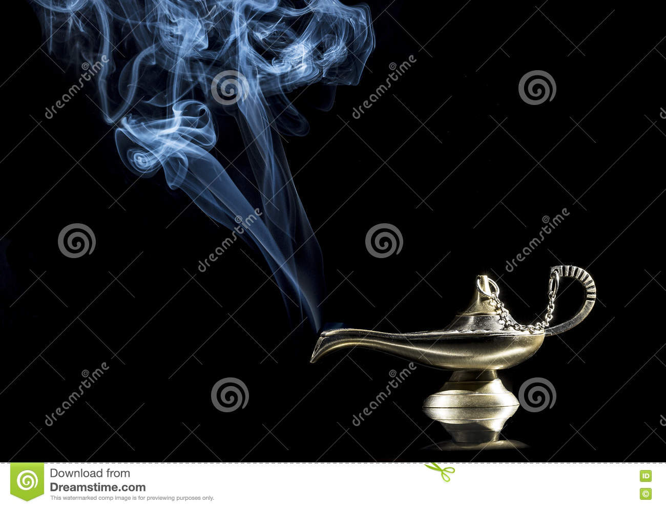 Magic Lamp On Black Background From The Story Of Aladdin With ... for Magic Lamp With Smoke  61obs