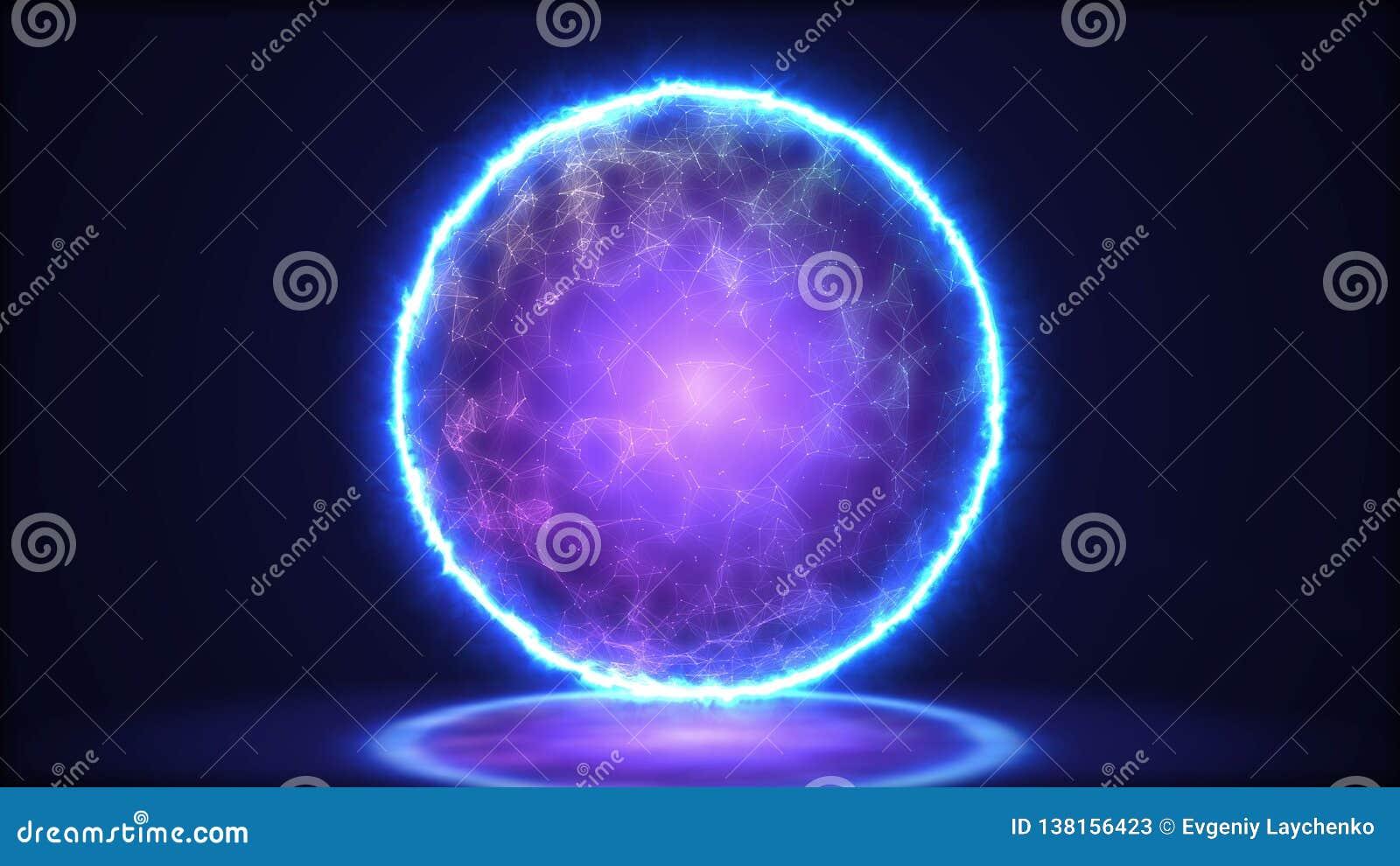 Magic lamp closeup. Energy inside the sphere.3D illustration