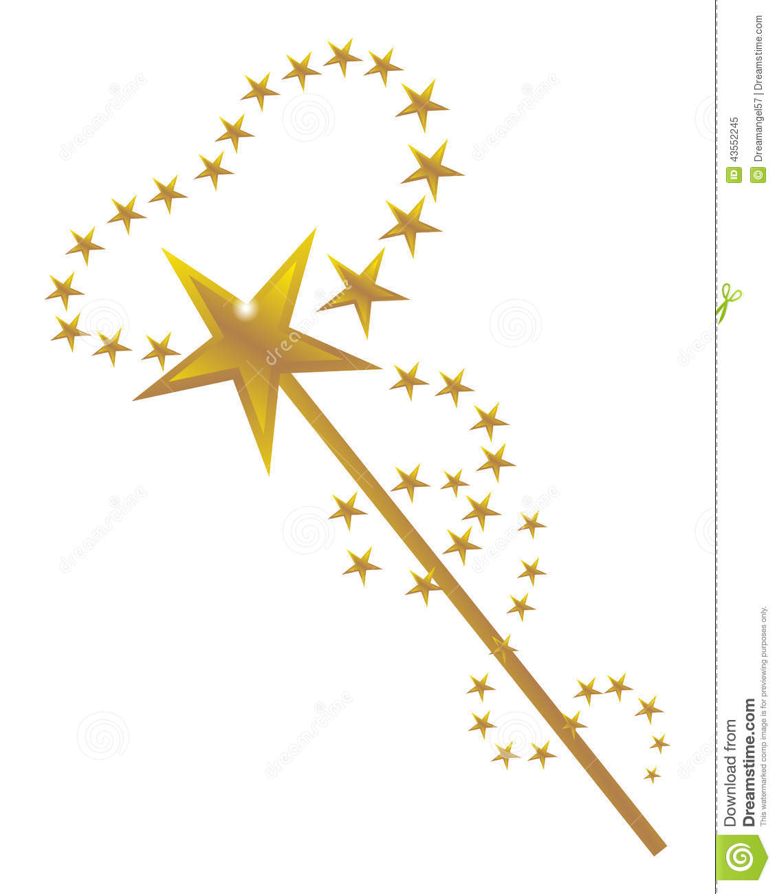 Vector illustration of a magic wand with golden stars design on a ...