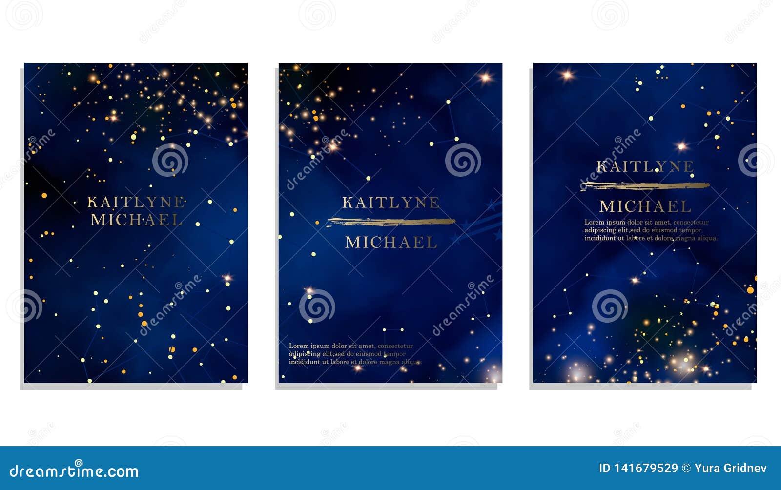 Magic night dark blue sky with sparkling stars vector wedding invitation. Andromeda galaxy. Gold glitter powder splash background