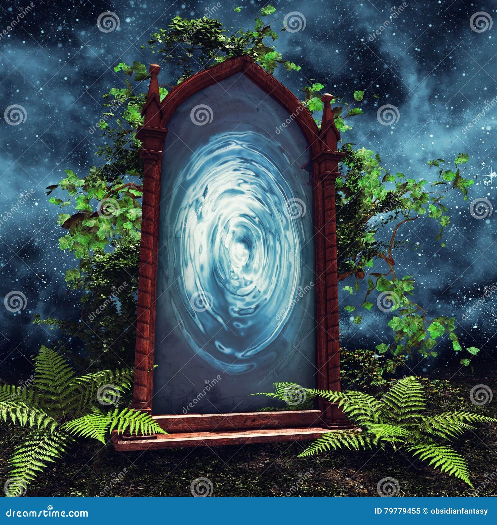 Magic Portal With Green Plants Stock Illustration Illustration Of