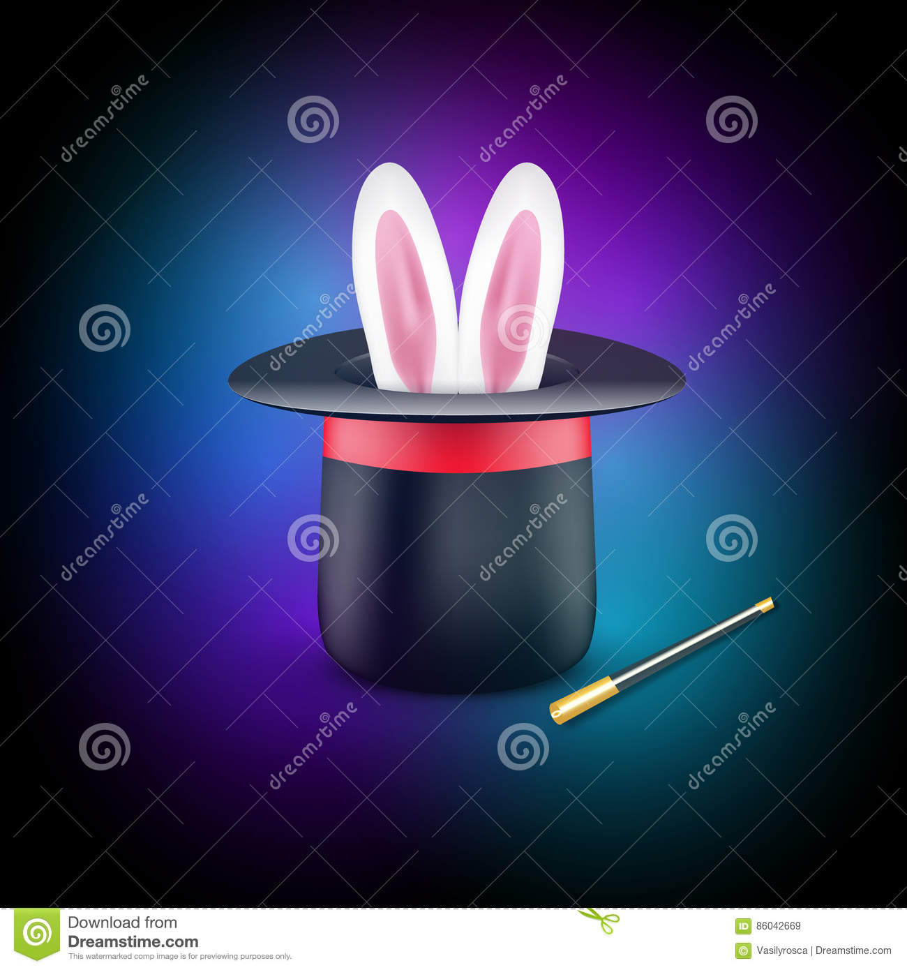 magic poster design template magician concept with hat rabbit and
