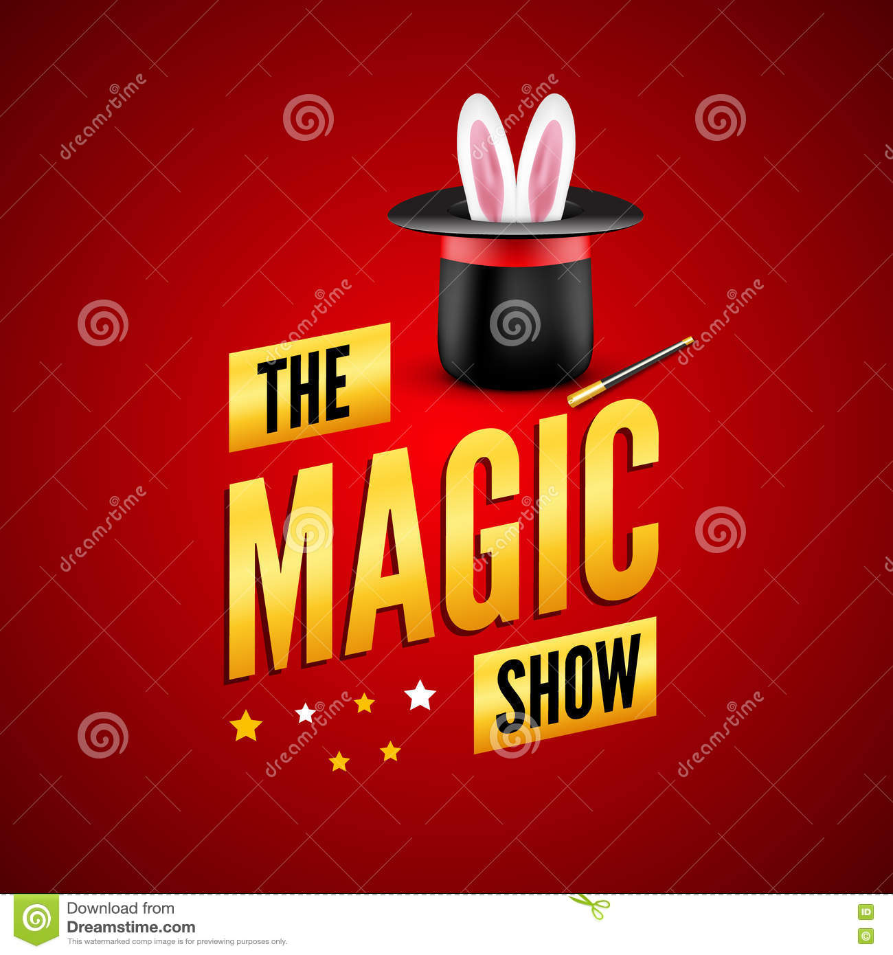 Magic poster design template. Magician logo concept with hat, rabbit and wand