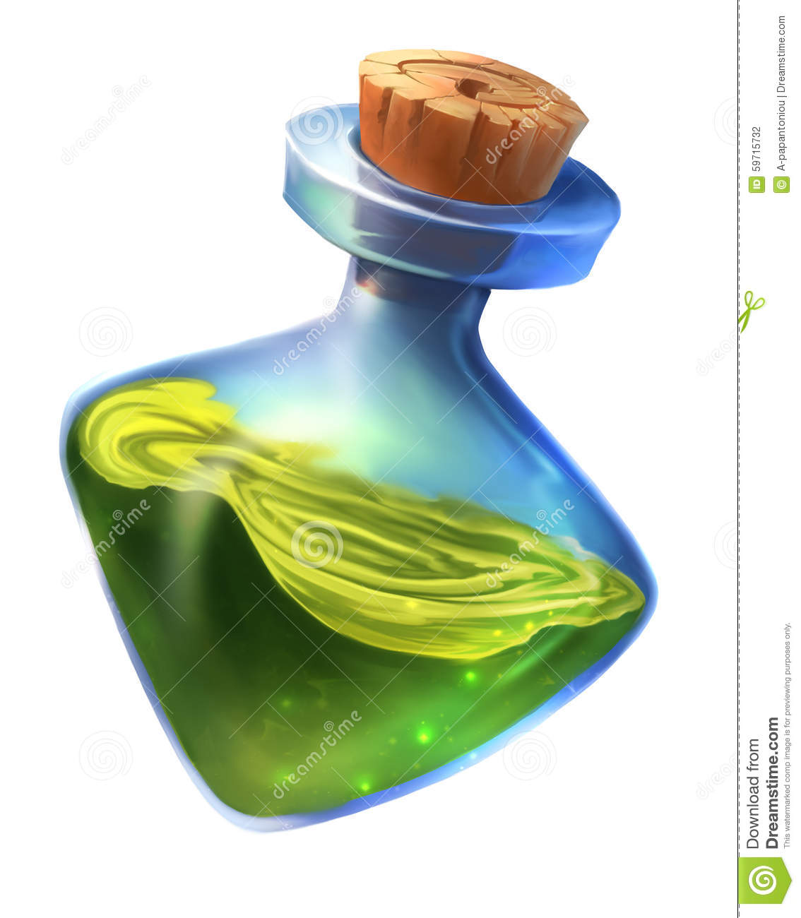 Painting of a magic potion bottle. Ideal for use as a UI icon or game ...
