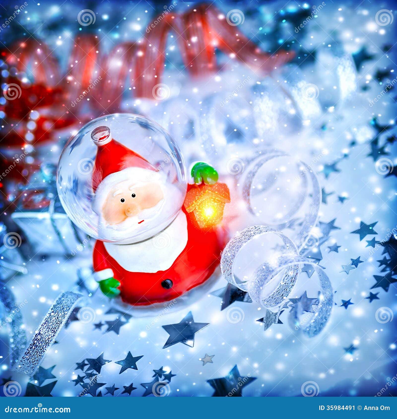Magic santa decoration stock image of card