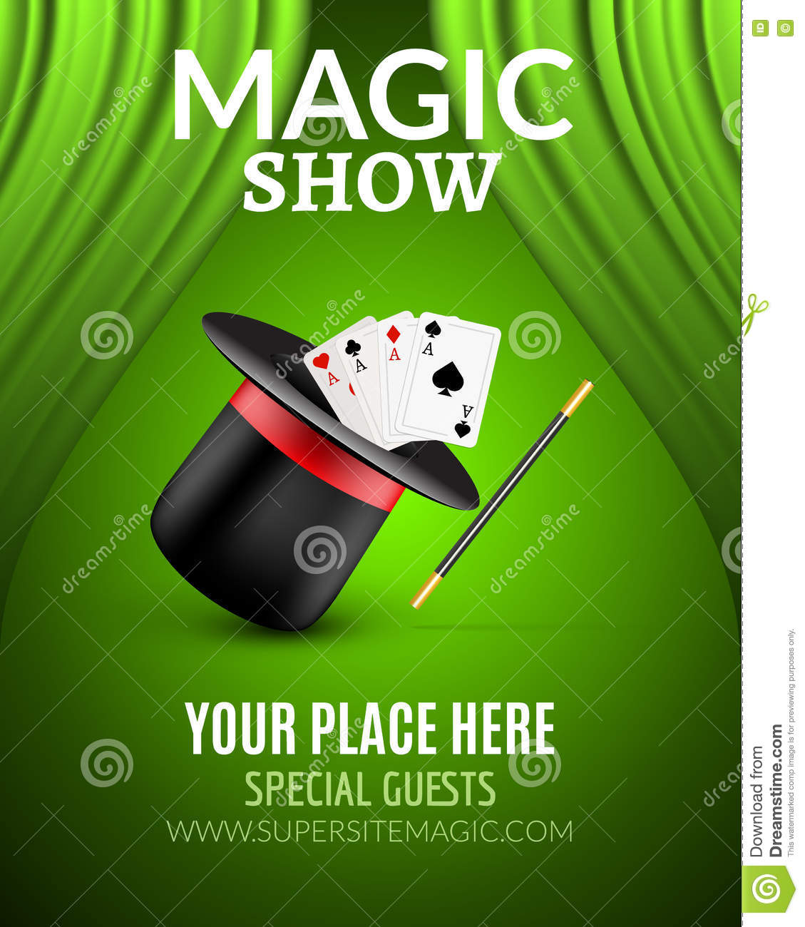Magic show poster design template magic show flyer design with magic hat and curtains stock