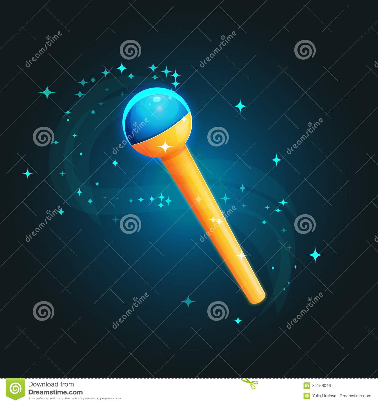 Magic Staff Wand Casting Spells Stock Vector Illustration Of