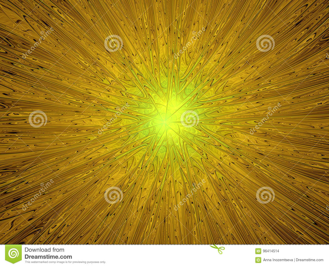Magic star.Abstract yellow fractal composition.