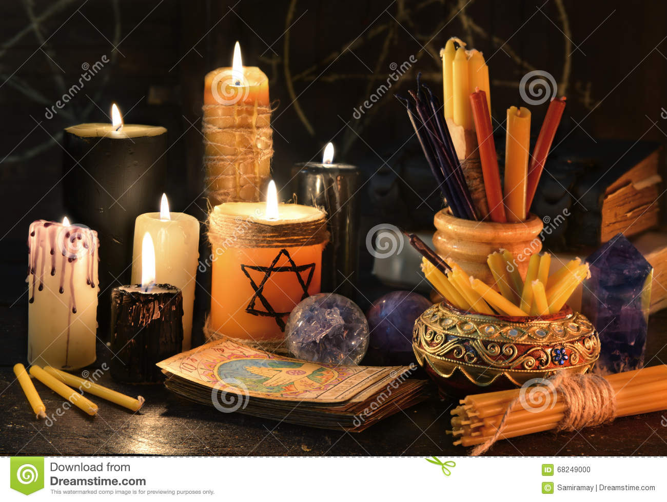 Magic Still Life With Candles Books And The Tarot Cards