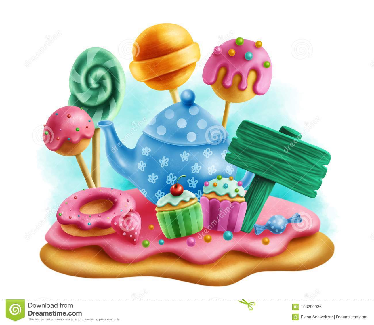 Download Magic sweets for tea party stock illustration. Illustration of illustration - 108290936