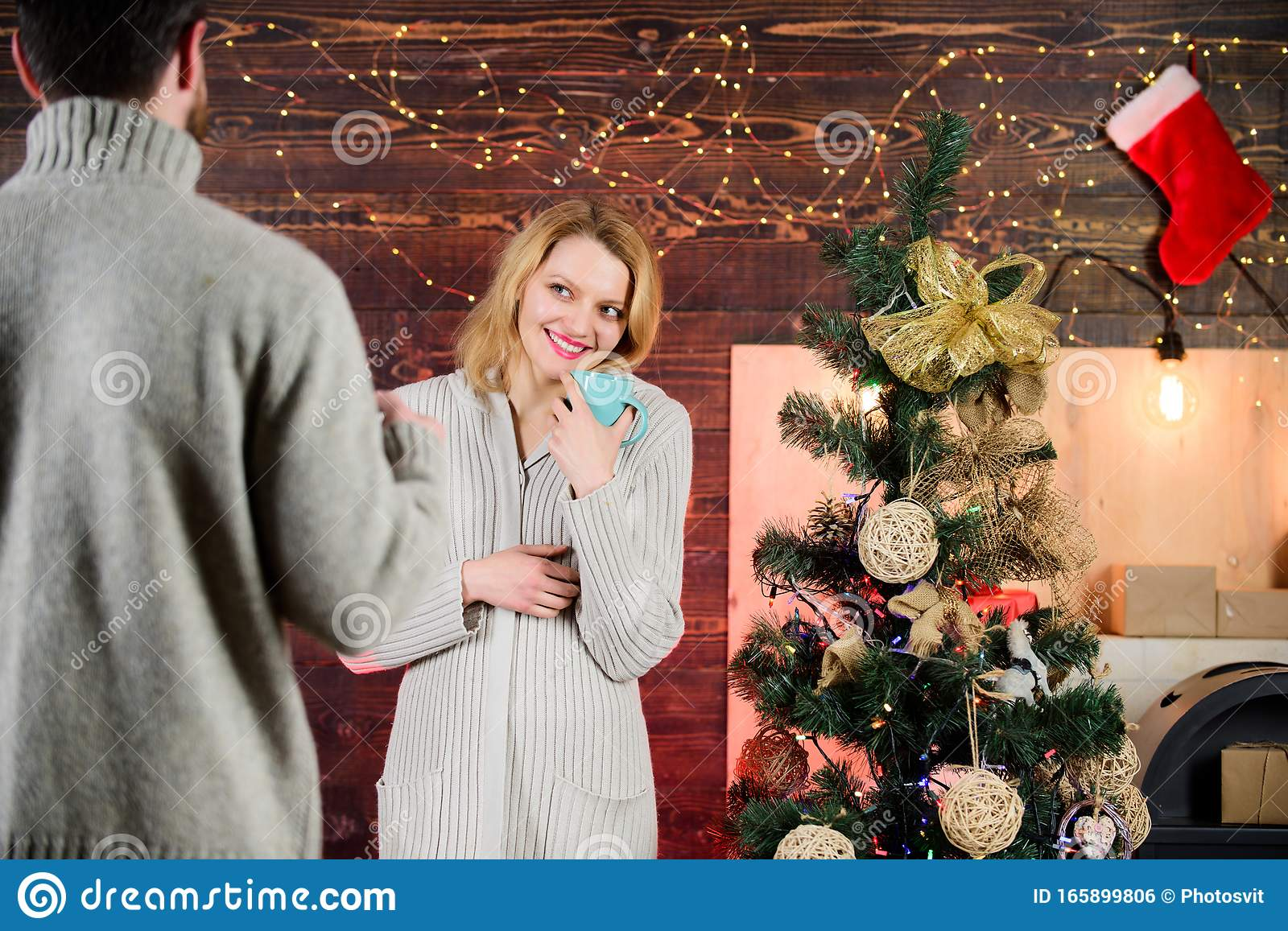 Magic Between Them Couple Love At Christmas Tree Some Fun Things To Experience With Family On Christmas Eve Feeling Stock Photo Image Of Flirting Romantic 165899806