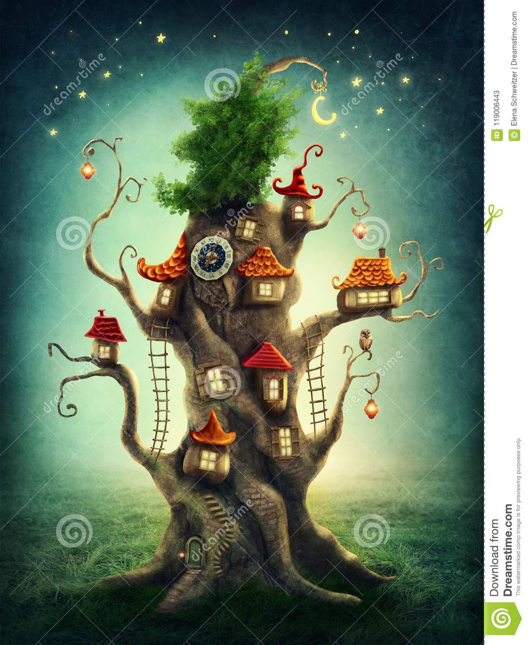 Download Magic tree house stock illustration. Illustration of meadow - 119006443