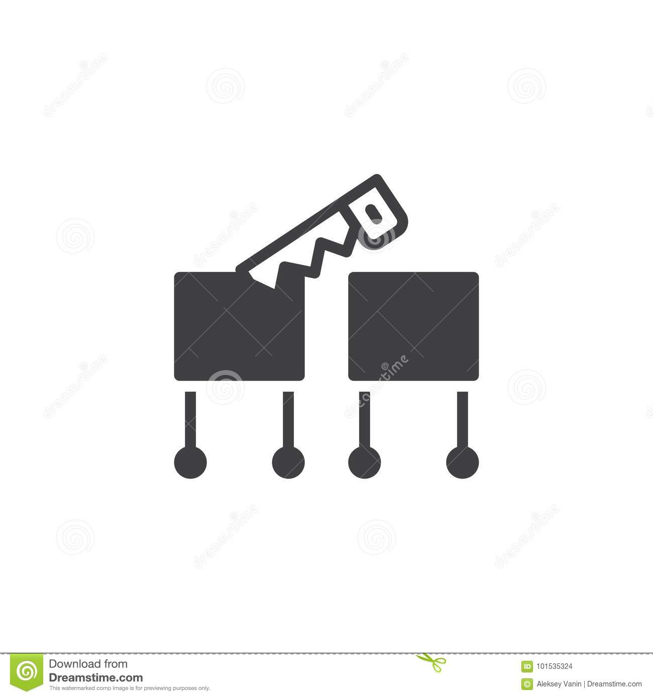 Magic Trick With A Saw Icon Vector Stock Vector - Image ...