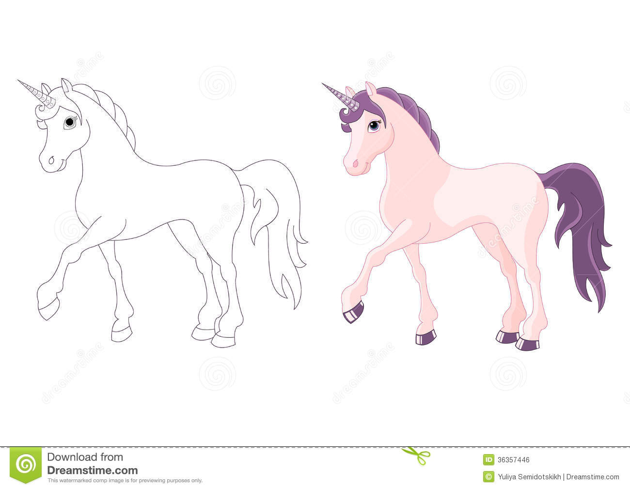 Magic Unicorn Coloring Page Royalty Free Stock Image Image 36357446