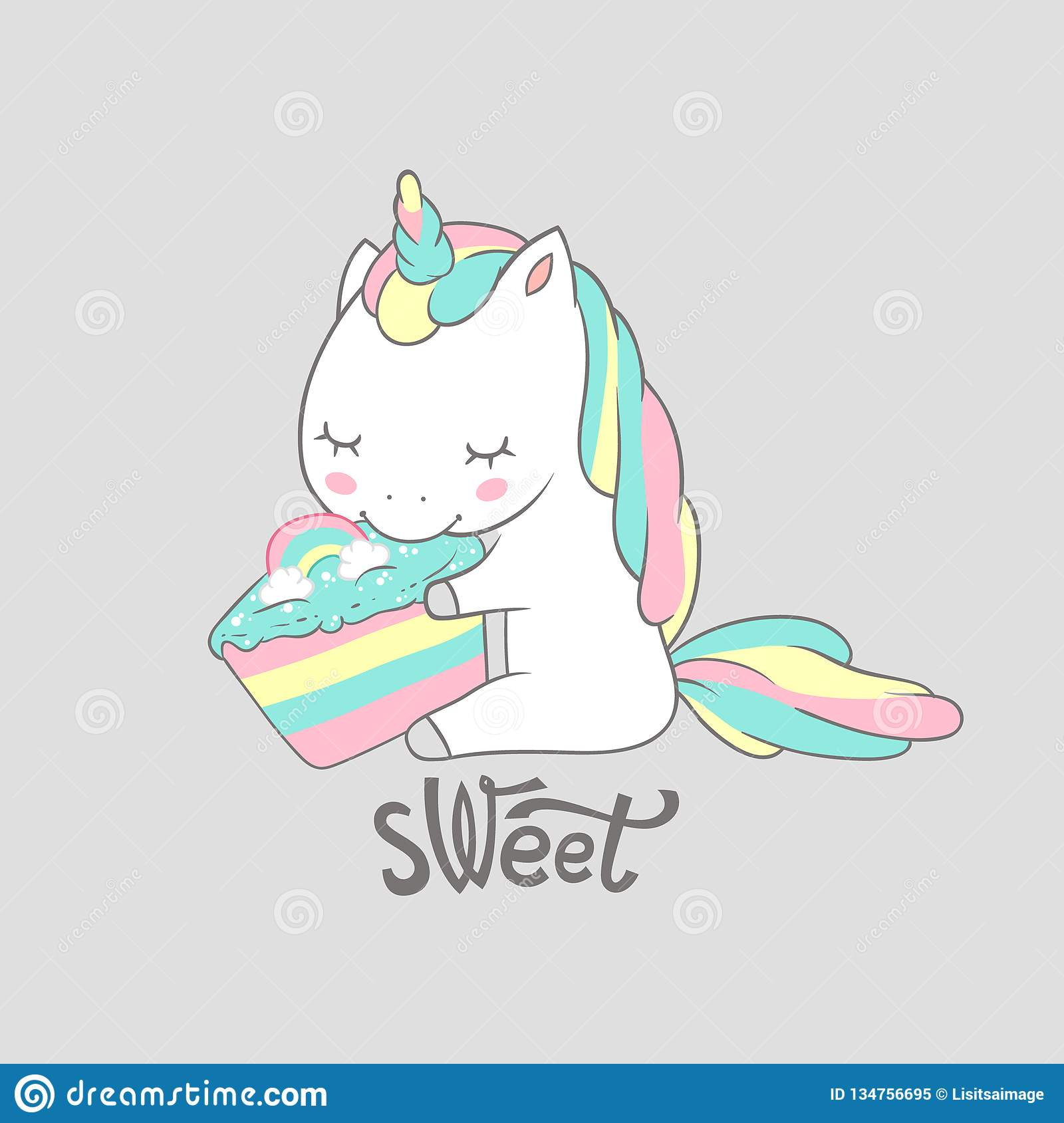 Magic Unicorn Eat Sweet Birthday Cake Poster Print Cute Greeting Card Template With Adorable Happy Fancy Horse Can Be Stock Vector Illustration Of Birthday Fancy 134756695