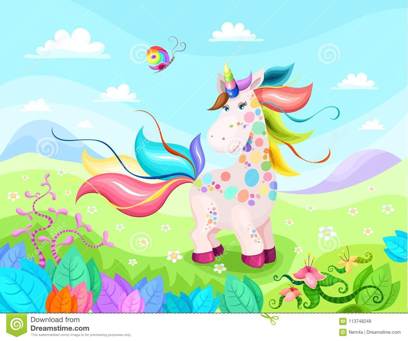 Magic unicorn illustration with beautiful background