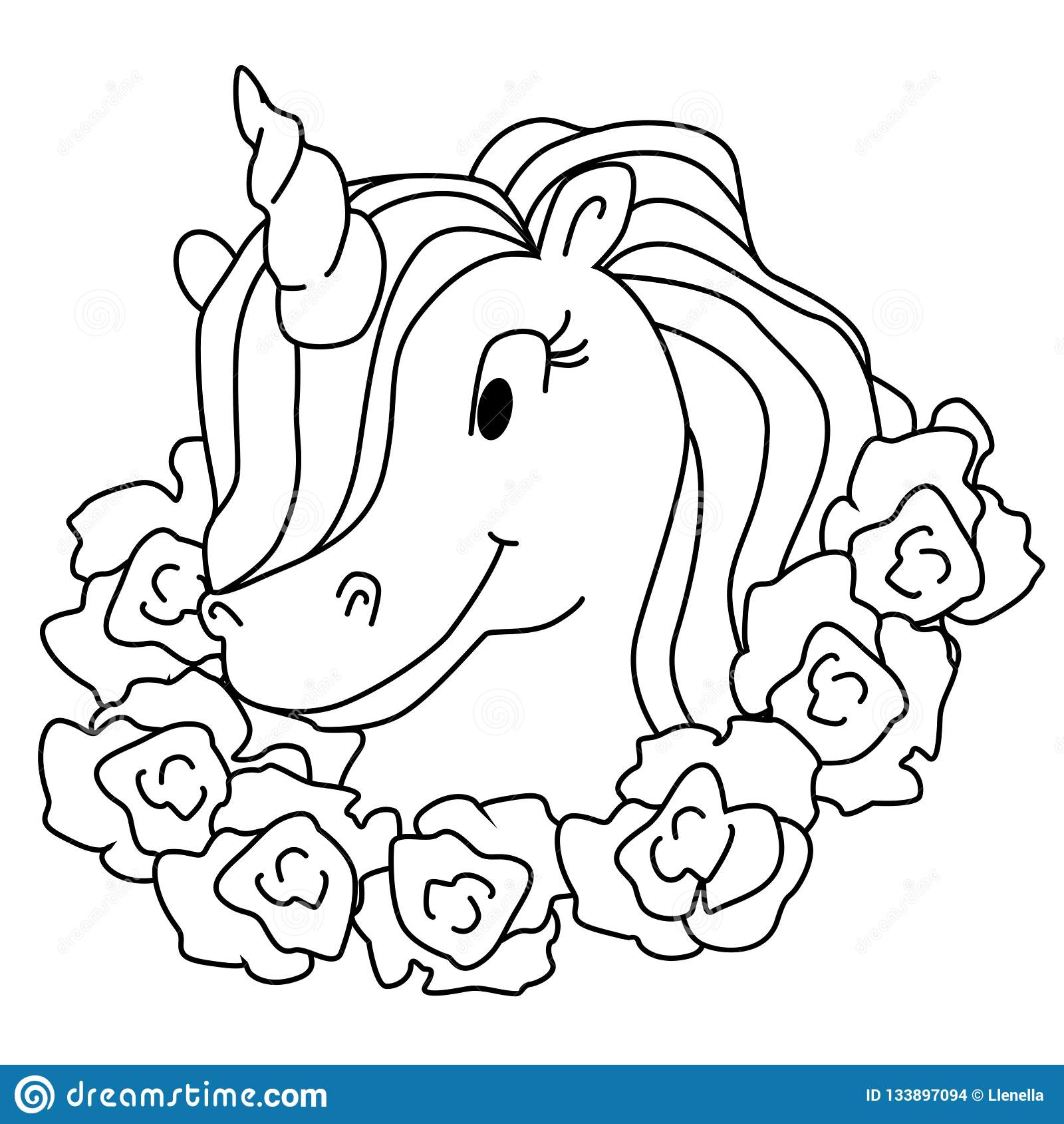 Beautiful Princess And Unicorn Coloring Page Cartoon