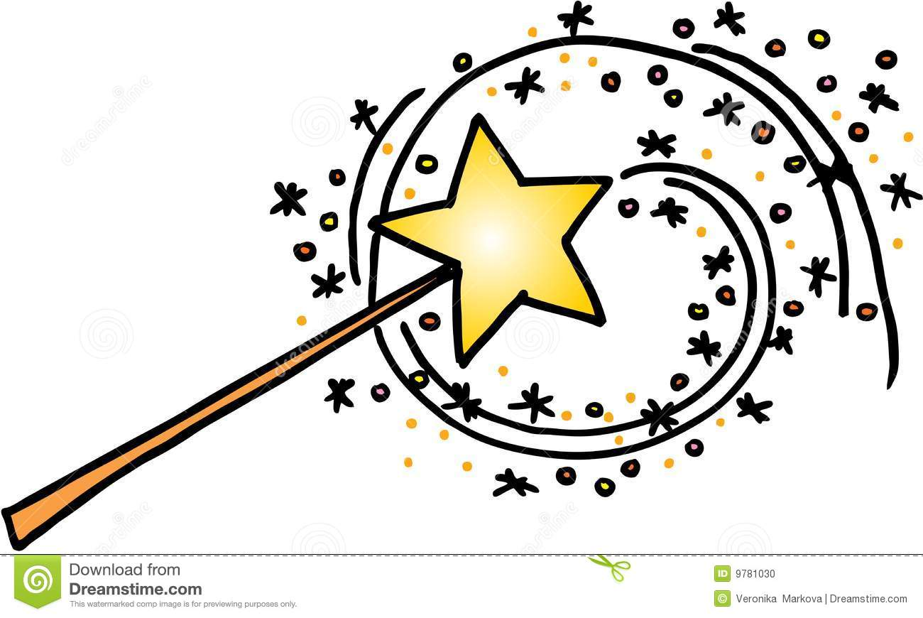 Magic wand with a trail of stars. vector image on white background.