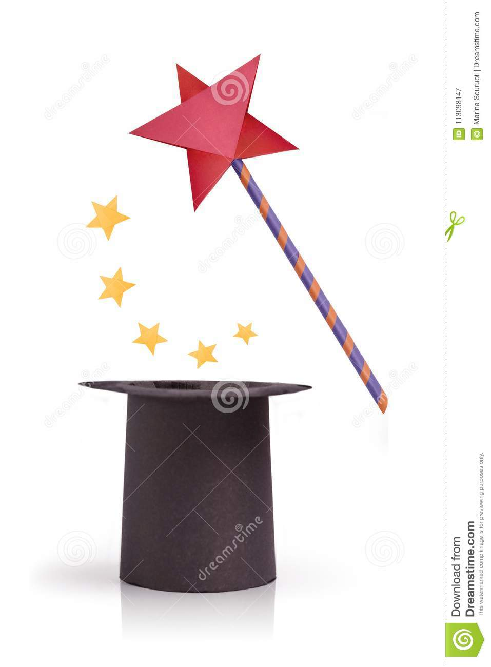 Magic Wand And Cylinder Hat Stock Image Image Of Isolated Mystery