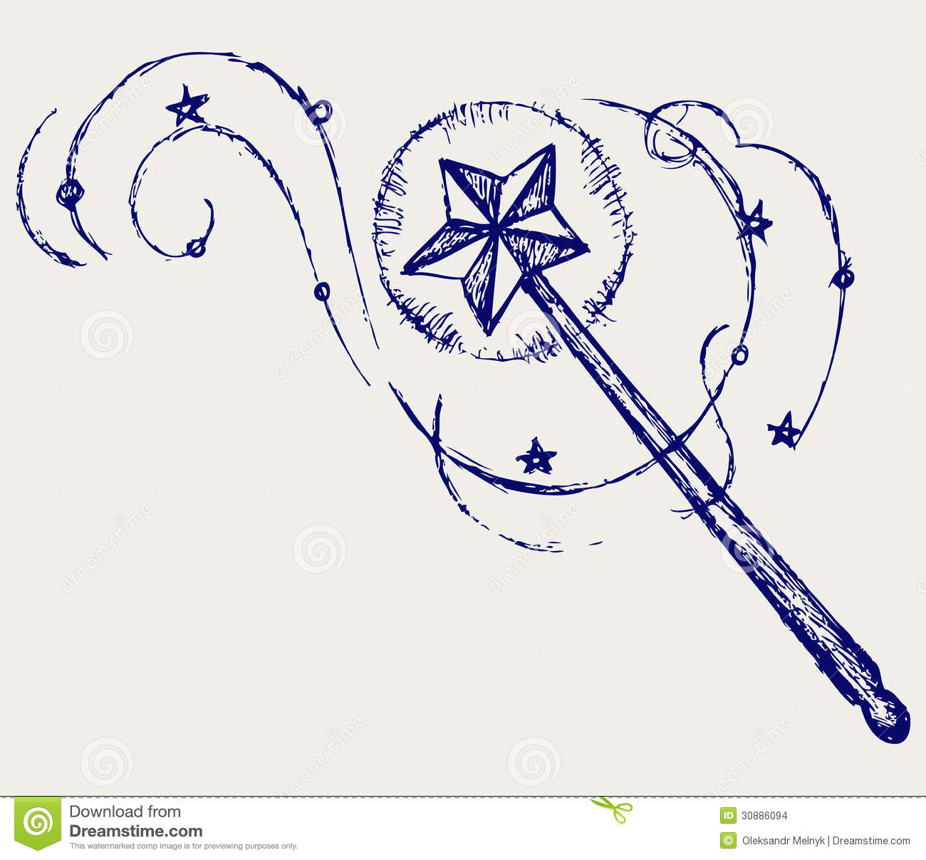 Magic wand. Doodle style. Vector illustration.