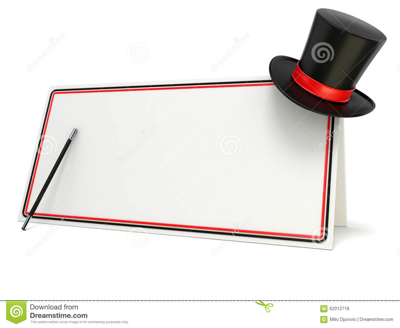 Magic wand and hat on blank board with black and red border. 3D render
