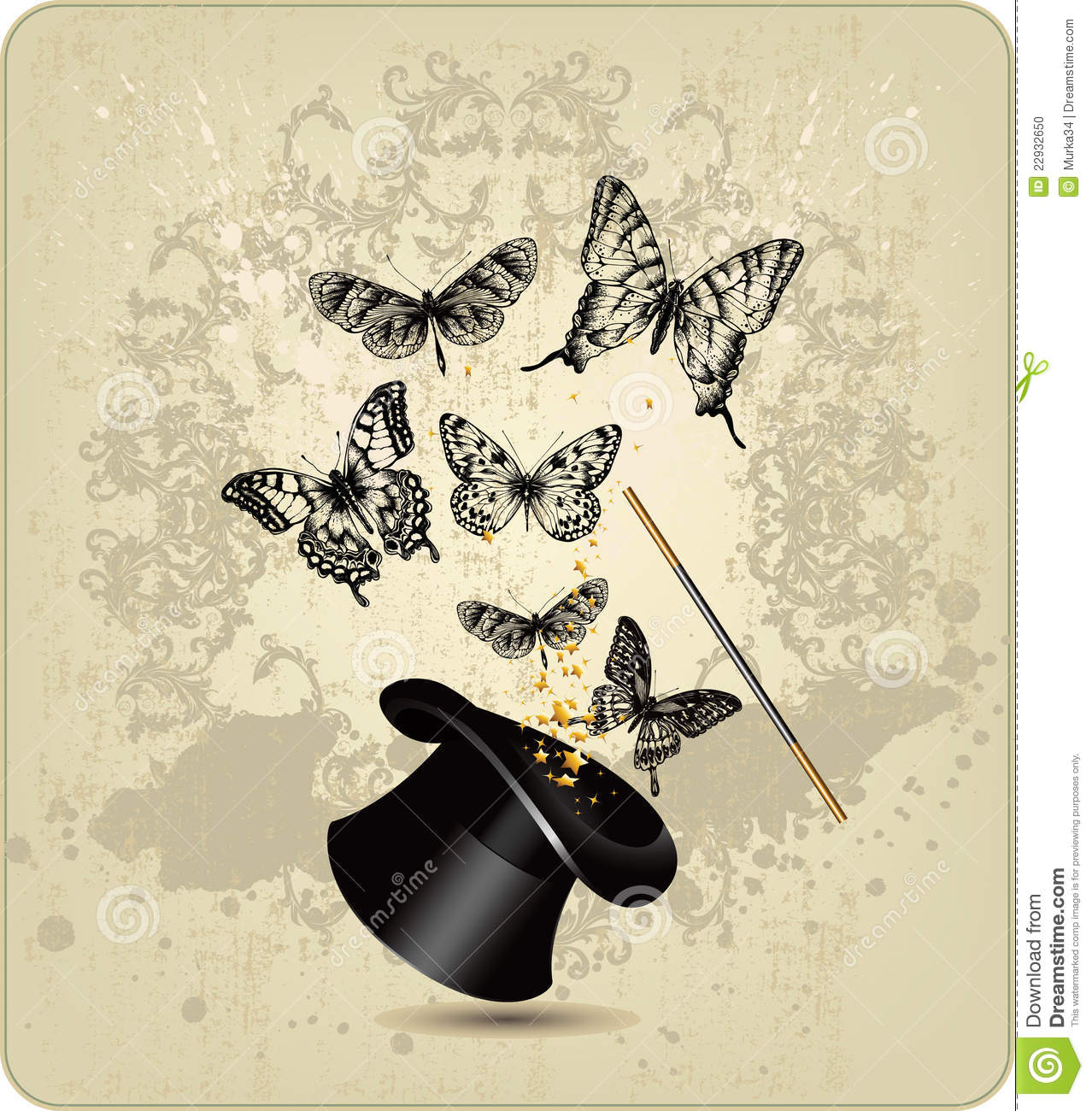 magic wand and hat with butterflies on a vintage b stock photo image 22932650. Black Bedroom Furniture Sets. Home Design Ideas