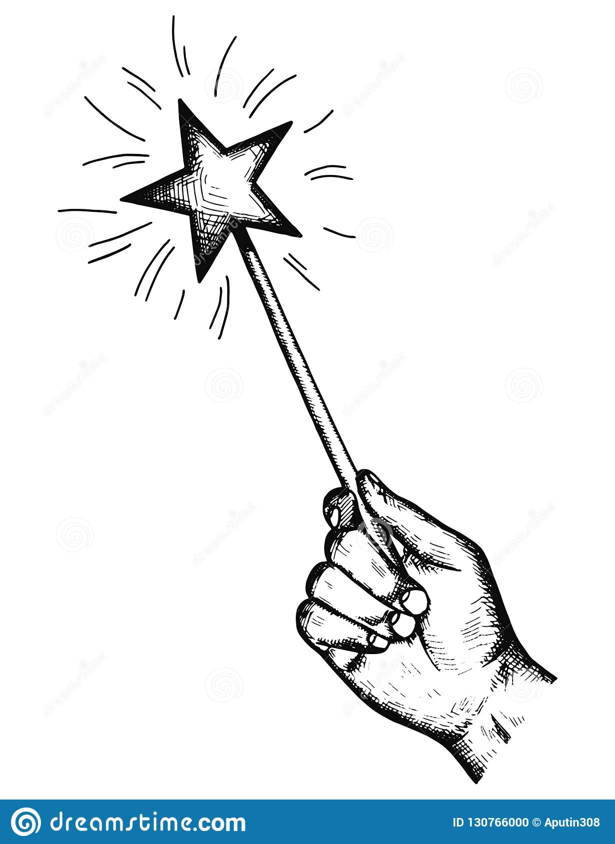 The Magic Wand In His Hand Holds The Wishes Of The Sketch
