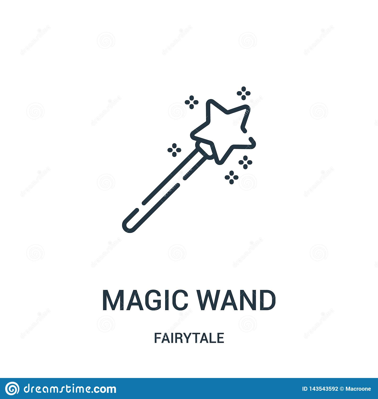 magic wand icon vector from fairytale collection. Thin line magic wand outline icon vector illustration