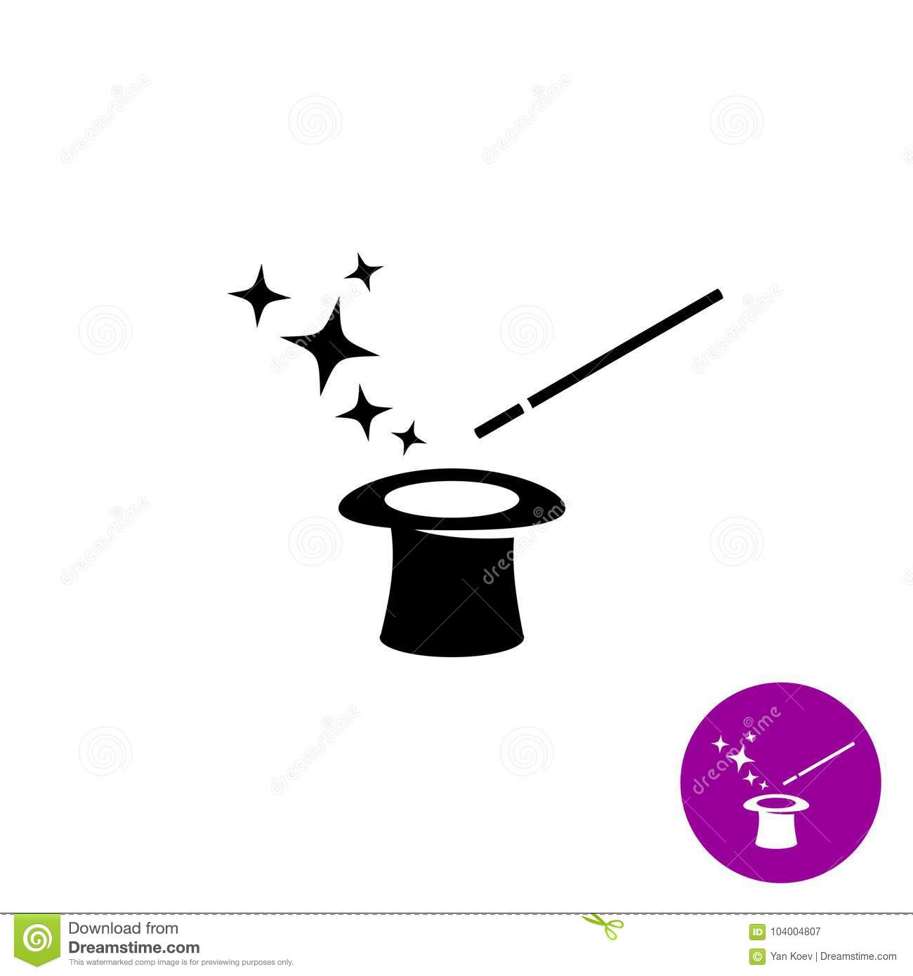 Magic Wand With Magician Hat And Stars Black Symbol Stock Vector