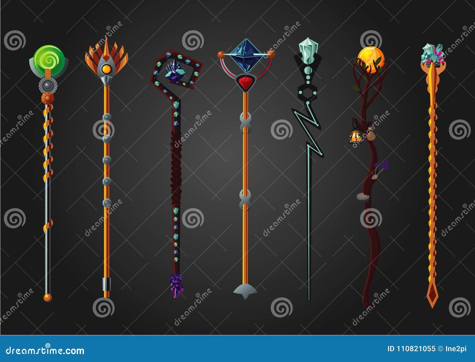 Magic Wand Set. Fantasy Staff Collection. Cartoon Style, Game Design ...