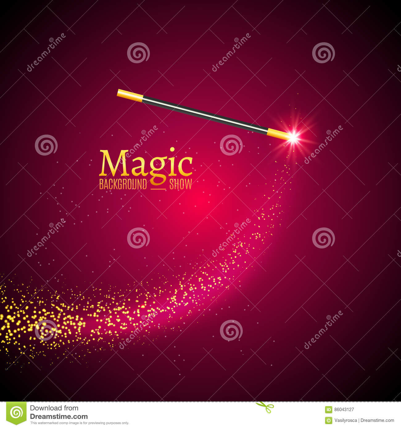 Magic wand vector background. Miracle magician wand with sparkle lights