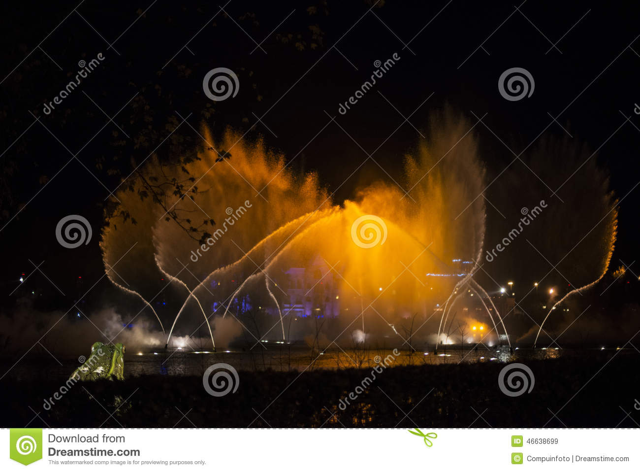 Magic water fountain during music show editorial stock image image 46638699 - The water street magical town in holland ...